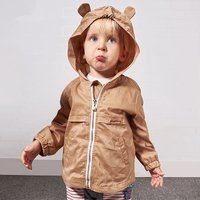 Adorable Cat Embroidered Solid Hooded Coat in Khaki for Baby
