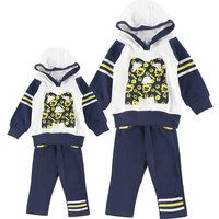 Lovely Fox Print Striped Hoodie and Pants Set for Family Matching