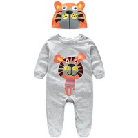 Fun Animal Print Long-sleeve Jumpsuit for Baby