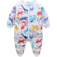 Baby Adorable Zoo Patterned Footed Long Sleeve Jumpsuit