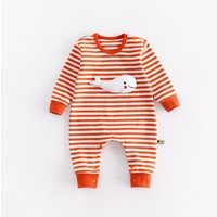 Adorable Animal Applique Stripes Baby Jumpsuit