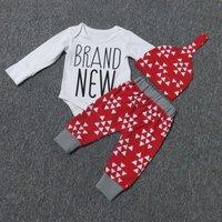 3-piece Letters Print Bodysuit, Floral Pants and Hat Set for Babies