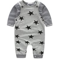 2-piece Striped T-shirt and Star-pattern Jumpsuit for Babies