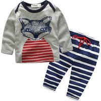 Cute Fox Print Tee and Stripes Pants Set for Baby Boys