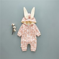 Lovely Rabbit-pattern Zip-up Hooded Jumpsuit for Babies