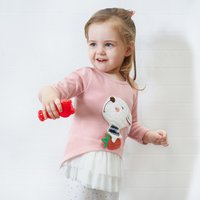 Adorable Bunny Appliqued Long Sleeve Top for Baby and Toddler Girls