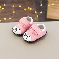 Cute Cat Appliqued Contrast Velcro Shoes for Infant and Toddler
