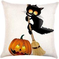Flying Cat Halloween Pillowcase (No pillow core)