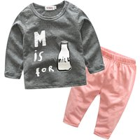 Baby Boy's Lovely Patterned Long Sleeve Tee and Pants Set