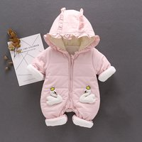 Elegant Swan Applique Quilted One Piece for Baby Girls