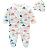 2-piece Cloud Pattern Footie Jumpsuit and Hat Set