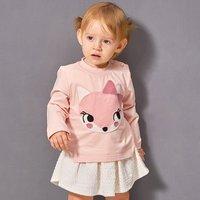 Adorable Fox Print Long-sleeve Dress