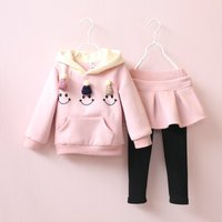 Lovely 2-pieces Simley Face Hoodie and Pantdress Set for Girls