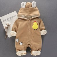 Adorable Chick Zip-up Hooded Jumpsuit for Baby