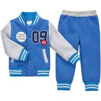 2-pieces Fleece-lining Baseball Jersey and Pant Set for Boys