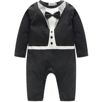 Baby's Faux-2 Bowknot Decor Long-sleeve Jumpsuit