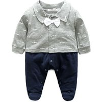 Baby Boy Faux-2 Bowknot Moustache Pattern Long-sleeve Footie Jumpsuit