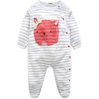 Pretty Cat Print Striped Long-sleeve Jumpsuit with a Hat for Baby