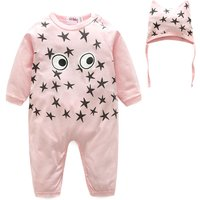 Attractive Eye Star Print Long-sleeve Jumpsuit with a Hat for Baby