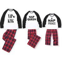 Family Crown Print Contrast T-shirt and Plaid Pants Set