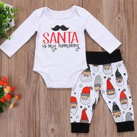 Baby's Lovely Christmas Long Sleeve Bodysuit and Pants Set in White