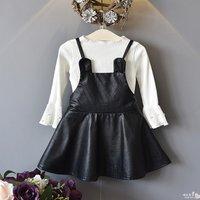 2-piece Ruffled Long-sleeve T-shirt and Bear PU Slip Dress Set