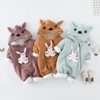Rabbit Applique Front Cute Hooded Baby One Piece for Winter