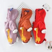 Super Adorable Giraffe Appliqued Hooded Zip-up Jumpsuit