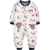 Super Cute Bear Appliqued Long-sleeve Jumpsuit for Babies