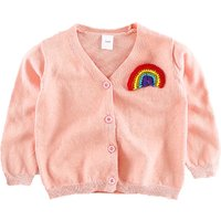 Rainbow Embroidery Button Front Cardigan for Baby and Toddler