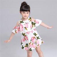 Adorable Lemon Pattern Off-shoulder Ruffled Dress