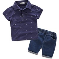Handsome Anchor Pattern Polo Shirt and Jeans Set for Boy