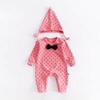 2-piece Polka Dotted Long Sleeve Jumpsuit and Hats Set for Baby