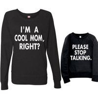 Sweet Letter Printed Long Sleeve T-shirt in Black for Mom and Me