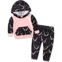 2-piece Deer Print Hooded Pullover and Pants for Baby