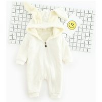 Adorable Solid Bunny Hooded Jumpsuit for Baby