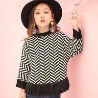 Fashionable Color-blocking Striped Tassel Sweater for Toddler Girl/Girl