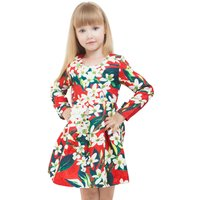 Girl's Floral Printed Pleated Long-Sleeve Dress