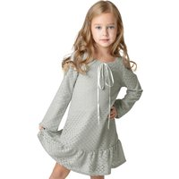 Girl's Ruffled Lace Long-Sleeve Dress