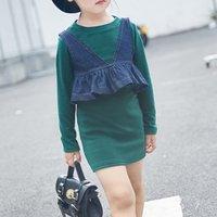 Cool Denim Vest and Solid Long-sleeve Dress Set for Toddler Girl/Girl