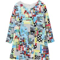 Girl's Stylish Pretty in Patches Long-Sleeve Zip-Up Straight Dress