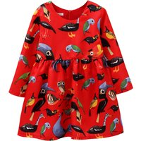 Fish Printed Cotton Spring Dress for Girls