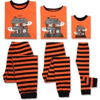 2-piece Halloween Haunted House Print Top and Striped Family Pajamas Set