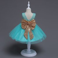 Shining Sequin Bow Party Dress with V-back