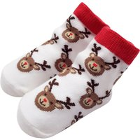 Adorable Deer Pattern White Christmas Socks for Babies