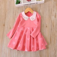 Girl's Pretty Doll Collar Long Sleeve Mesh Dress