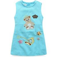 Cute Solid Bear Sleeveless Dress for Girls