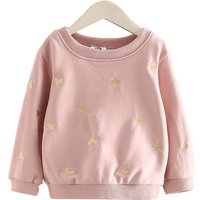 Solid Heart Patterned Long Sleeve Cotton Pullover for GIrls