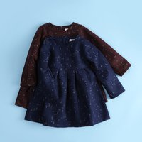 Cute Star-pattern Long-sleeve Pleated Waist Dress for Baby and Toddler Girls