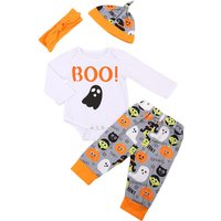 4-piece Halloween Ghost Print Bodysuit, Patterned Pants, Headband and Hat Set for Baby